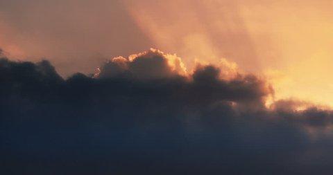 4k Panoramic of dark altocumulus clouds smoke slowly flying in cloudy sun ray sky timelapse.high cumulus cloud,mackerel sky.dusk sunset & dawn sunrise.gh2_08558_4k