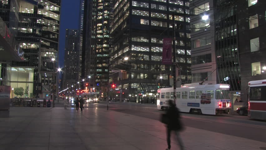 time lapse shot of the streets in Toronto, Canada at night