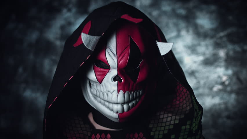 4k Anime and Halloween Shot of a Child in Ninja Costume with Horror Mask
