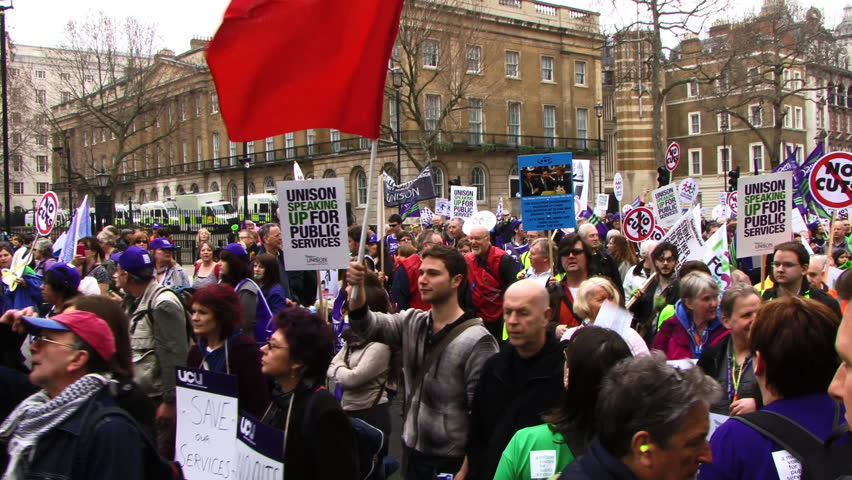Group of Protesters London 2011. Anti-cuts protest 26th March.
