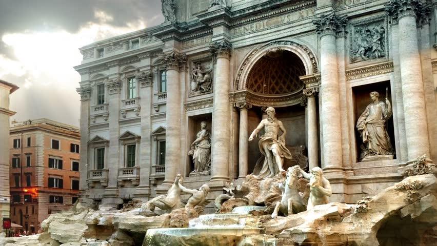 World Famous Fontana Di Trevi (Trevi Fountain) In Rome, Italy.