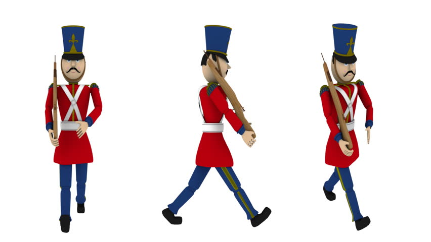 Toy Soldier Marching with Alpha (HD). Toy Soldier with rifle in hand marching steadily. Included alpha channel matte track at the end. Crop the video to get one of the three for your video or site.