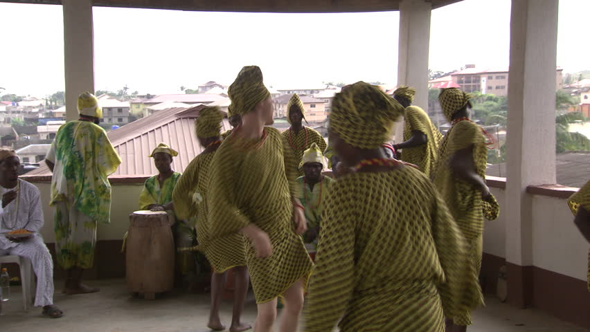 Lagos, Nigeria - August 2013; Drummers and dancers perform at Orisha initiation ceremony.