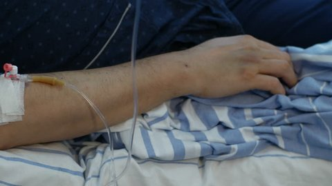 Dialysis old patient arm close-up