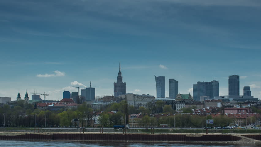 Hyper Lapse of Warsaw City Skyline and Vistula river, with nice clouds movement. Photographed in summer.