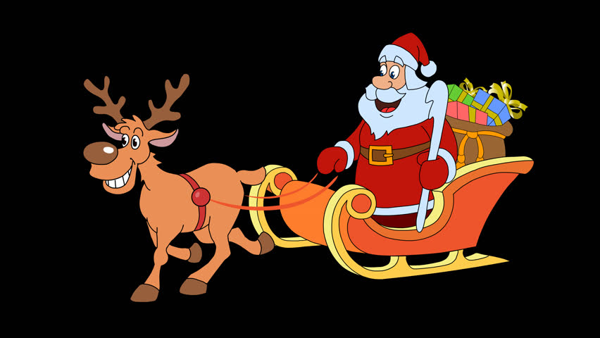 christmas sleigh with 1 reindeer and santa claus 25 fps 4k stock video clip - Santa And Christmas 2