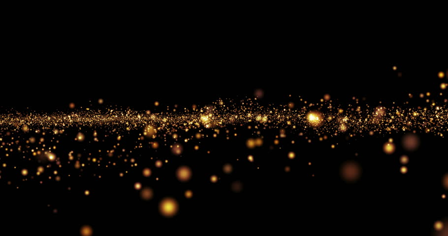christmas golden light shine particles bokeh loopable on black background, holiday concept