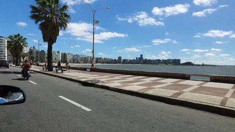 Driving along the boardwalk of Montevideo, Uruguay