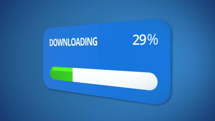 Downloading dialog box with green progress bar, rising percentage, process done | Shutterstock HD Video #21048070