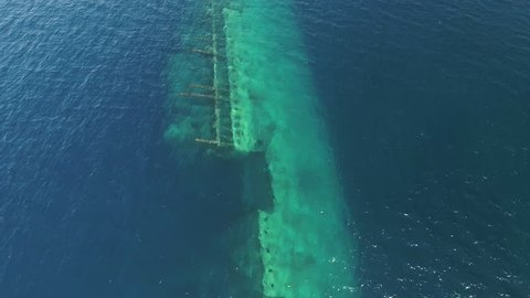 Aerial view of underwater shipwreck - Umbria, Red Sea, Sudan