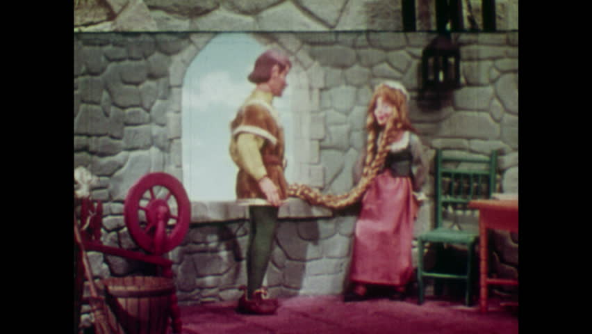 ANIMATED 1950s: Young man bows when he meets Rapunzel. Young man kisses Rapunzel's hand. Young man climbs down Rapunzel's hair.