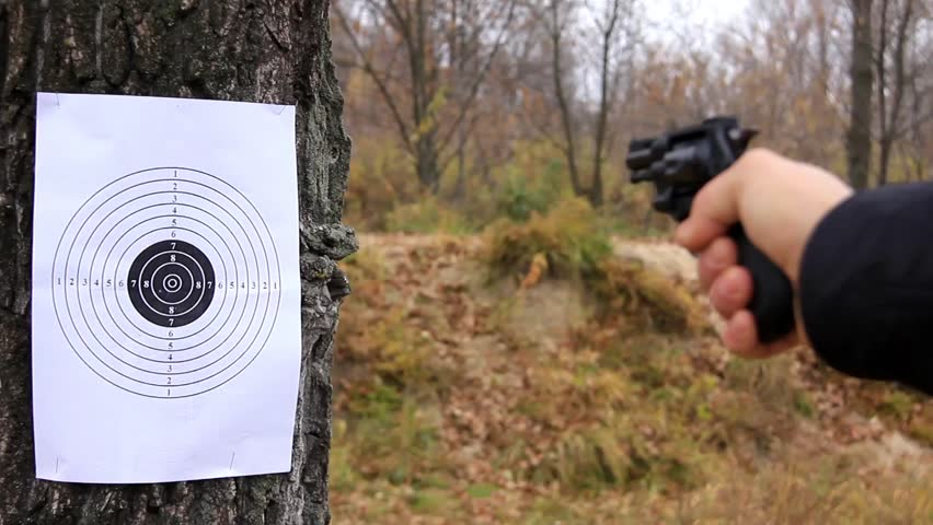 Shooting at a target on tree