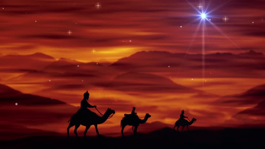 Wise men following the star. Magi on camels traveling to Bethlehem. Christmas Nativity Background. Religious Christian Christmas background.