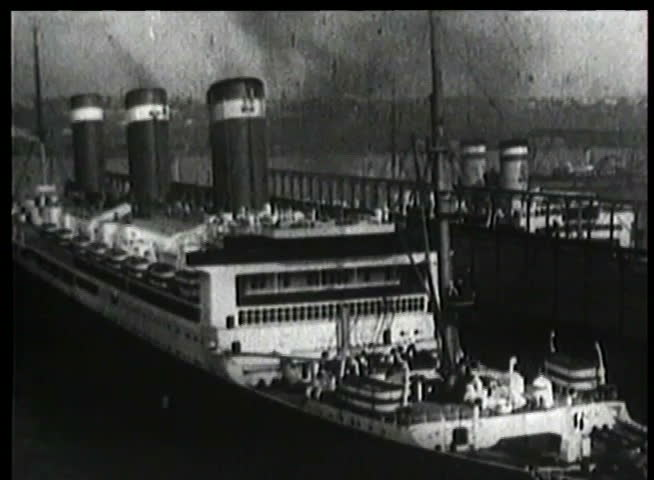 Montage of ocean liner on the move