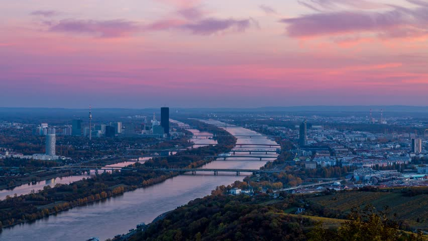 Vienna Skyline, Day to Night timelapse of Vienna Austria in 4K. | Shutterstock HD Video #21087892