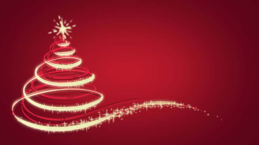 Animated Christmas Tree On Red   30 Second Version   HD Stock Video Clip