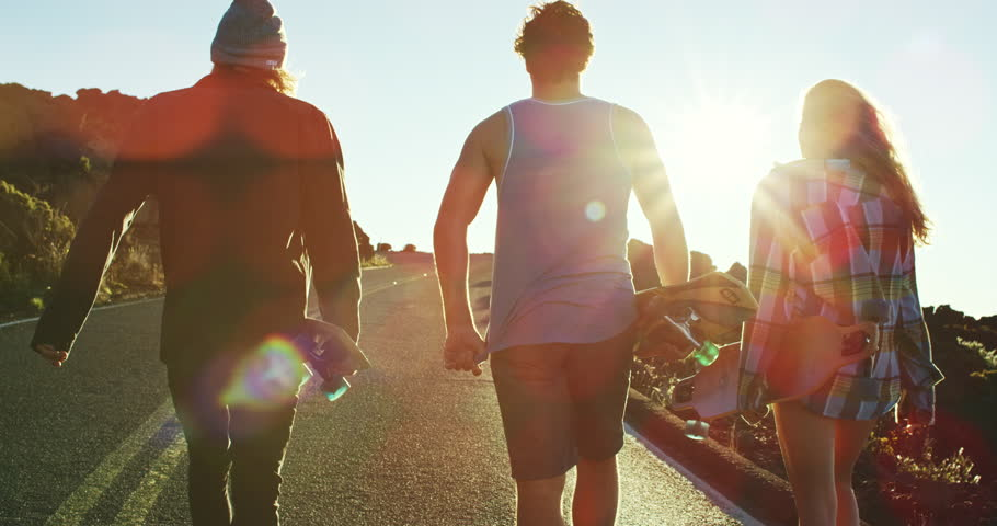 Group of friends hanging out walking with skateboards | Shutterstock HD Video #21135670