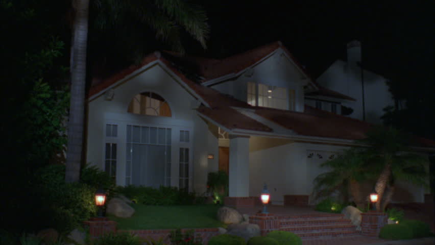 Hd0007night Raked Left 2 Story Stucco House Red Tile Roof 3 Car Garage Palm Trees