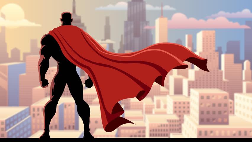 Looping animation of superhero watching over city.
