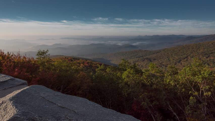 4K TL BRP Rough Ridge Wall Valley Fog during autumn's leaf peeping season