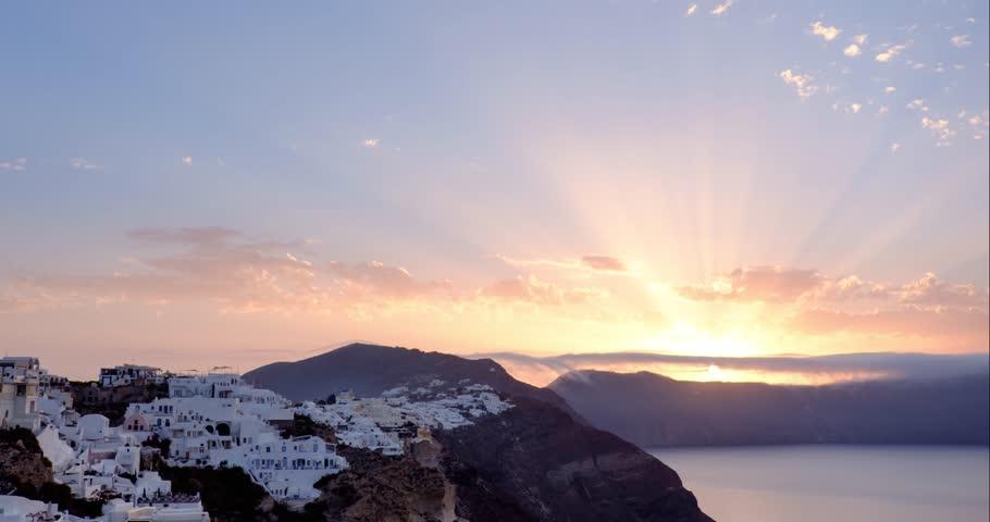 Sunrise over Oia village on Santorini island in Greece. Timelapse 4k