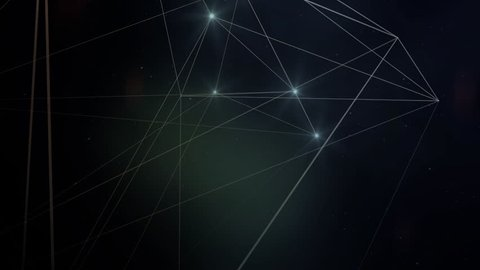 Space background. Camera is flying through the constellations. The constellation is outlined.