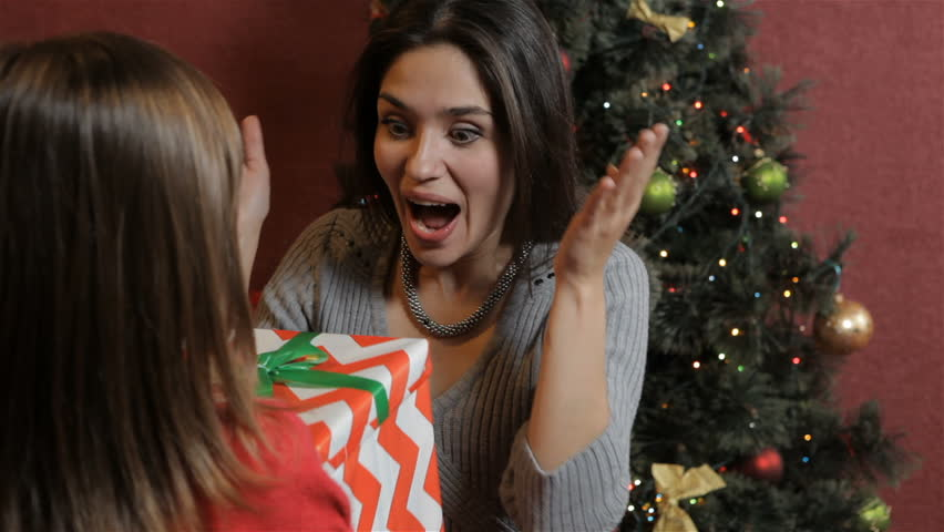 Pretty Caucasian Woman Getting Chrismas Gift From Her Daughter Little Giving Striped