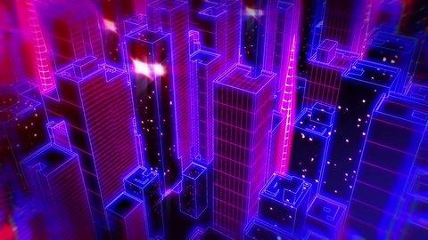 Retrofuturistic cityscape seamless background.