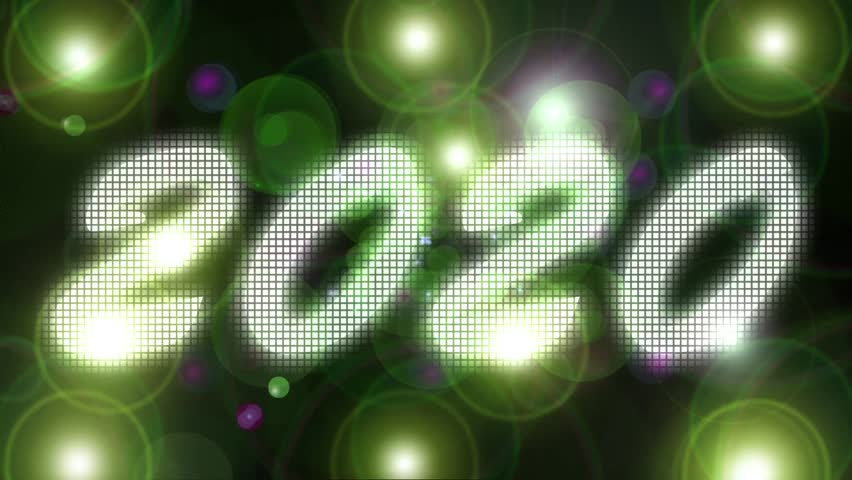 2020 Happy New Year animation. Lens flares lighting flash up. Concert or Event wall effect. Green box texture. 3d visuality  background   Shutterstock HD Video #21260980