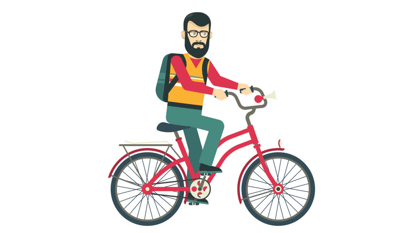 121083dbb0f Bearded hipster riding on a red retro bicycle. Looped animation with alpha  channel. Transparent background.