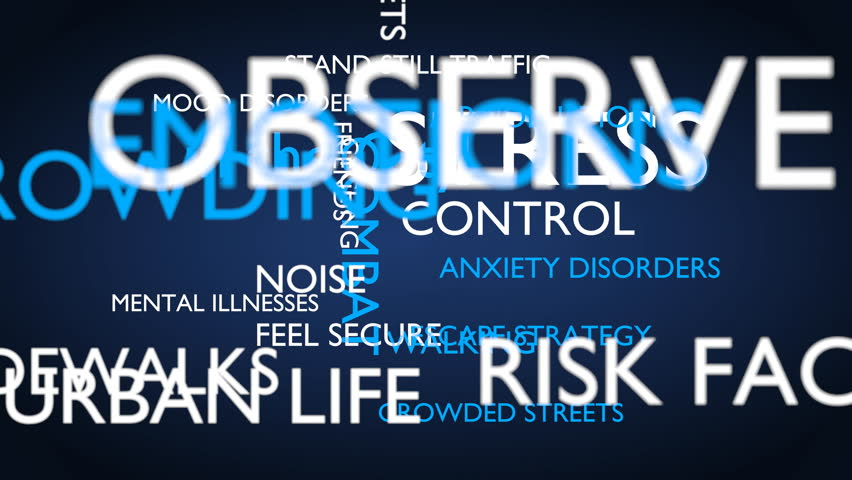 Stress in the city word tag cloud - blue, English variant, 3D rendering, UHD | Shutterstock HD Video #21274342
