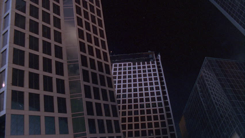 Night Up Angle Large Modern High Rise Office Building - Building architectural windows