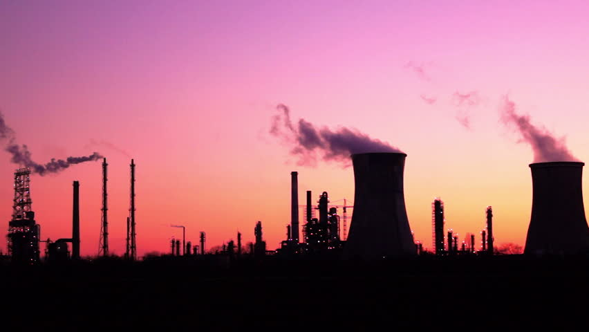 industrial towers in twilight