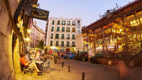 MADRID, SPAIN - SEPTEMBER 9: Timelapse view of streetlife in the evening in Madrid on September 9, 2015 in Madrid, Spain.