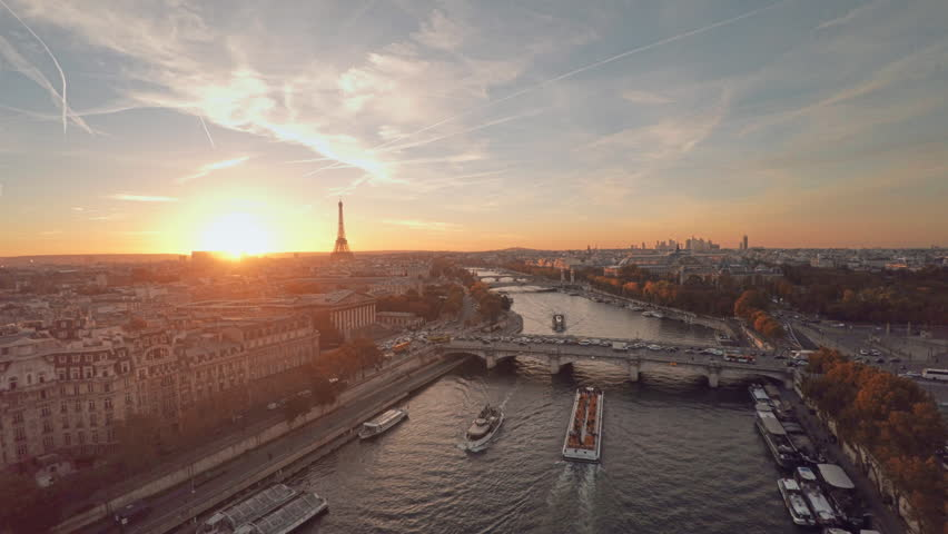 Aerial view of Paris during sunset | Shutterstock HD Video #21290980