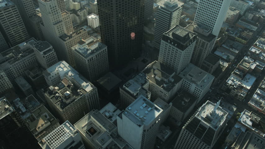 Aerial vertical view of skyscrapers in a busy commercially developing metropolis, North America