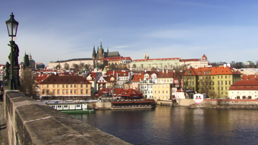 WIDE SHOT, PAN, Charles Bridge, Prague, Czech Republic, PAN over Vitava river