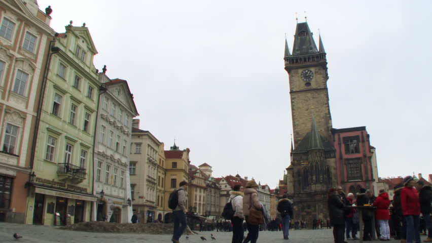 Time lapse, Wide shot of tourists in Old Town Square, Prague, Czech Republic