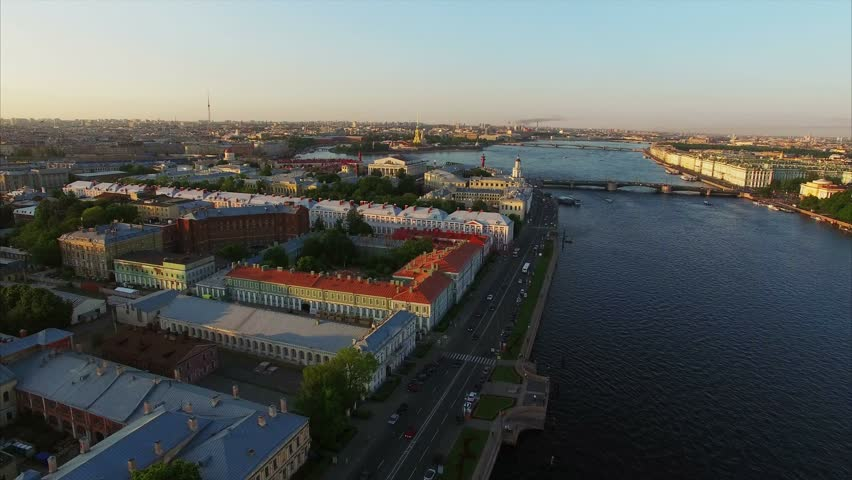 4k aerial shot of Saint-Petersburg with view on river Neva, Palace bridge, Hermitage and Petr and Paul fortress | Shutterstock HD Video #21372790