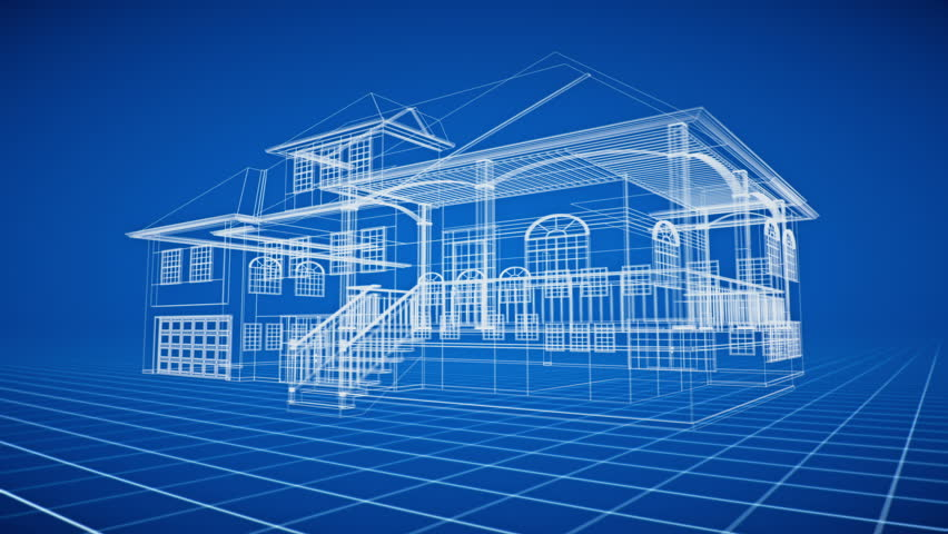 Stock video clip of 3d house animation shutterstock 4k0020villa architecture blueprint seamless looping malvernweather Gallery