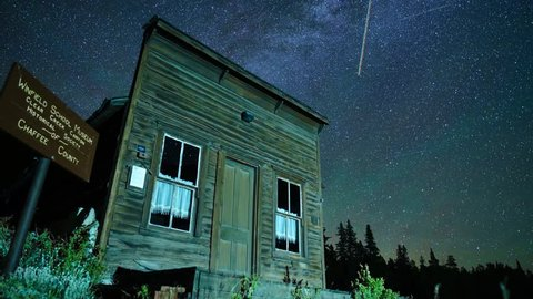 Milky Way night sky timelapse over Ghost Town Schoolhouse
