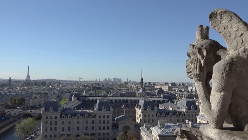 Notre Dame sculpture, paris symbol, blue serene sky | Shutterstock HD Video #21396910