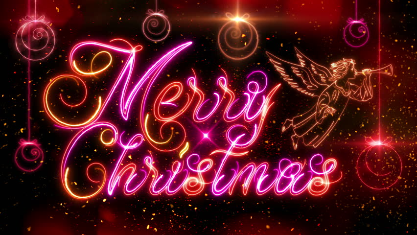 merry christmas animation luminous lettering with decorative balls and christmas angel on the background of