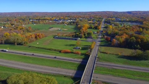 Aerial video upstate New York foliage and highways