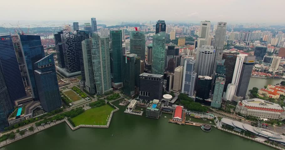 Aerial footage of Singapore skyscrapers with City Skyline. Drone video in 4K | Shutterstock HD Video #21429376