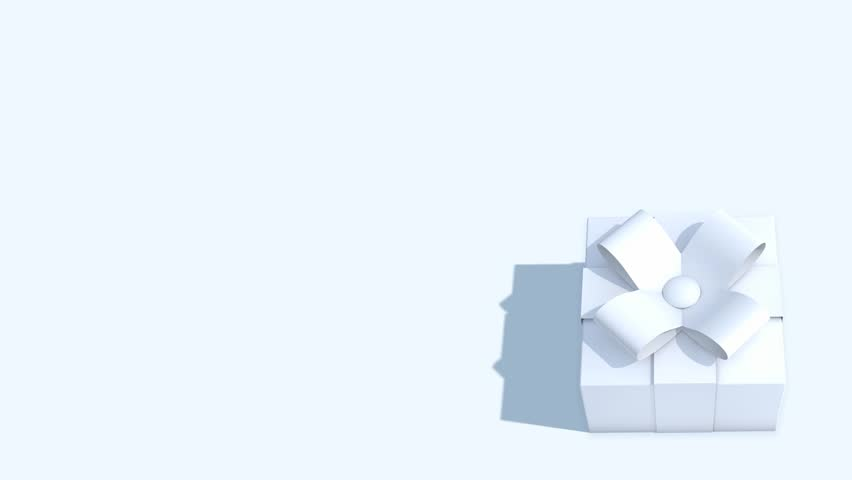 Three dimensional animation of a white gift box on a white background with copy