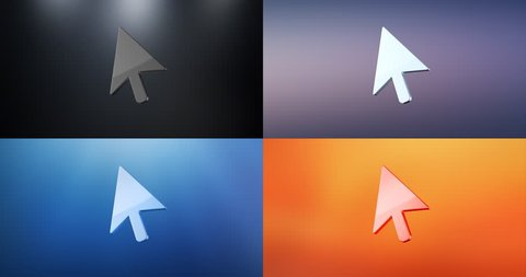 Animated cursor 3d icon loop modules for edit with alpha matte