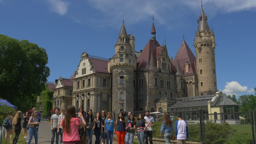 mosznapoland jun 01 2016 people at the excursion in moszna castle - Multi Castle 2016