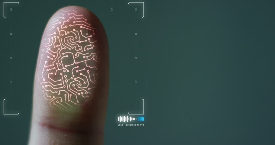 futuristic digital processing of biometric fingerprint scanner. concept of surveillance and security scanning of digital programs and fingerprint biometrics. cyber futuristic applications. | Shutterstock HD Video #21565930