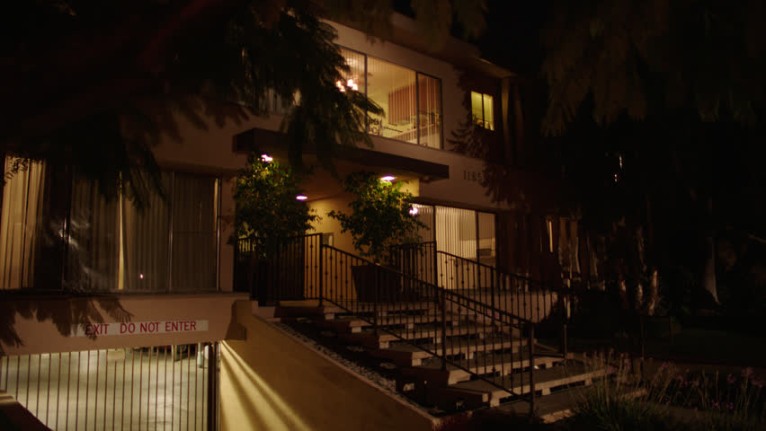 Night 1970s Style Plain Stucco Stock Footage Video 100 Royalty